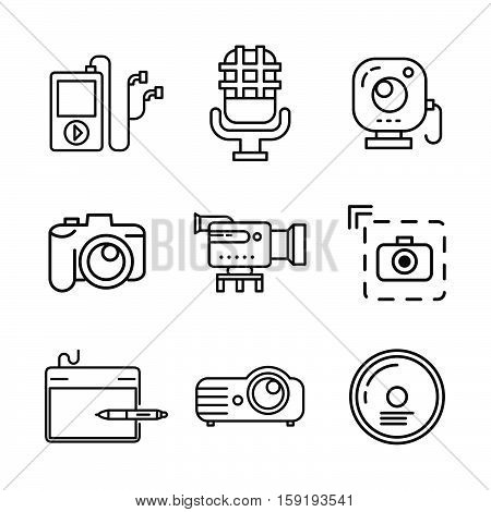 multi media icon set vector illustration design eps 10