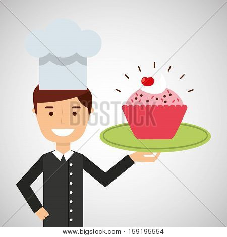 cartoon chef dessert cupcake cherry chips vector illustration eps 10