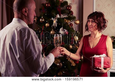 Mid shot of middle-aged couple clinking of glasses before exchanging gifts. Standing near the Christmas tree. Romantic evening at the home. Concept of New Year and Christmas.