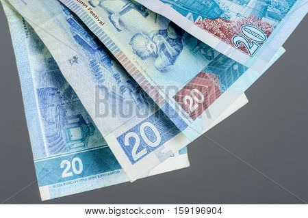 closeup twenty Hong Kong Dollars bills, Financial Concept