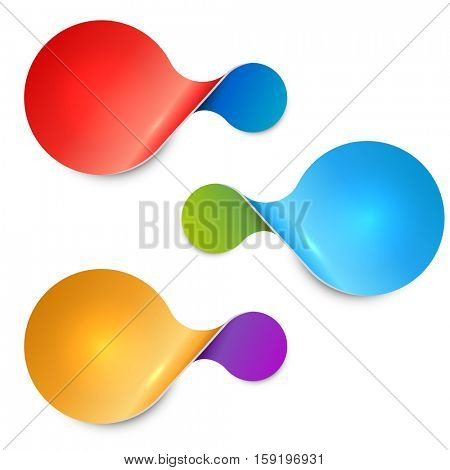 Rounded twisted two-sided color sale tag isolated on white background. Blank labels vector template.