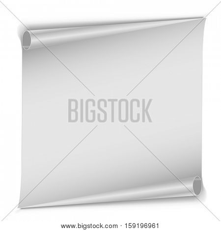 Blank unrolled white paper scroll isolated on white background. Clean page with rolled edges vector template.