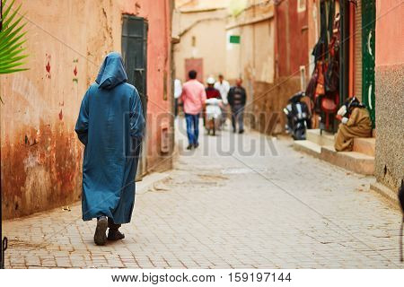 Man On Moroccan Market In Marrakech, Morocco