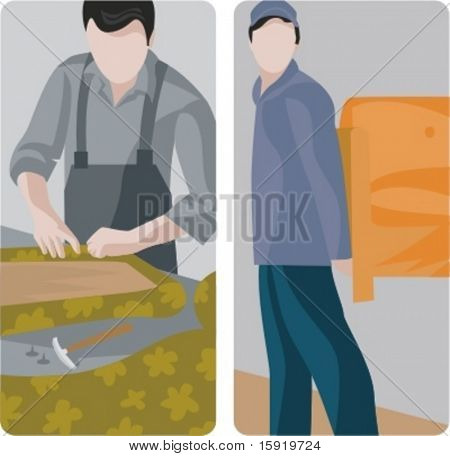 A set of 2 vector illustrations of furniture makers.