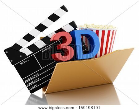3d renderer image. Folder with cinema clapper and popcorn. Cinema concept. Isolated white background.