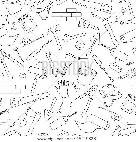 Seamless background on the topic of construction and repair construction equipment simple contour icons black contour on white background