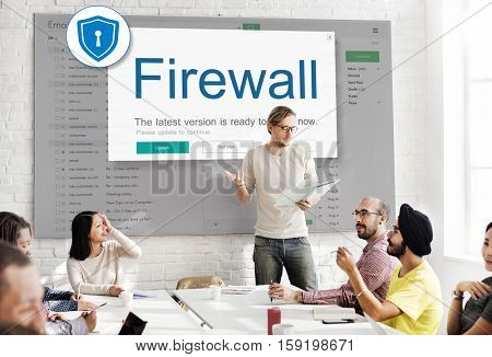 Firewall Antivirus Alert Protection Security Caution Concept poster
