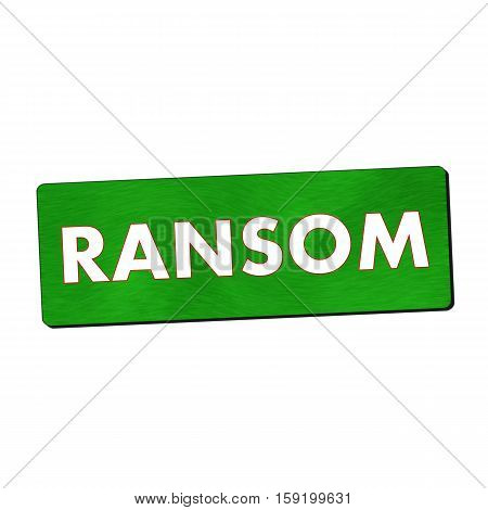 ransom white wording on green wood background