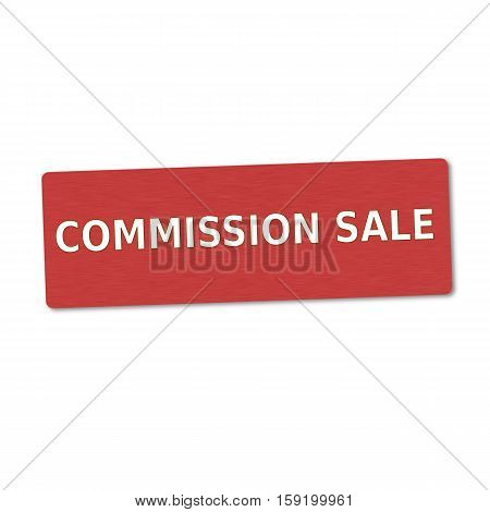 commission sale white wording on red wood background
