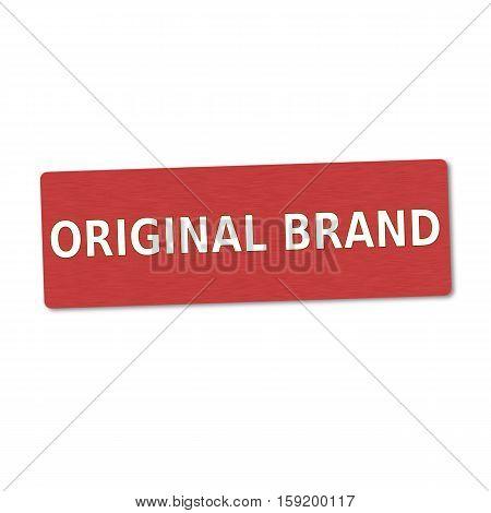 original brand white wording on red wood background