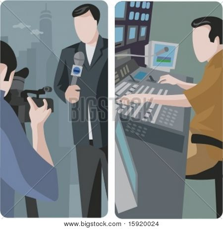 Vector illustrations of news reporter, camera operator and a TV studio worker.