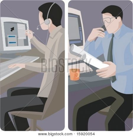 A set of 2 vector worker illustrations of computer workers.