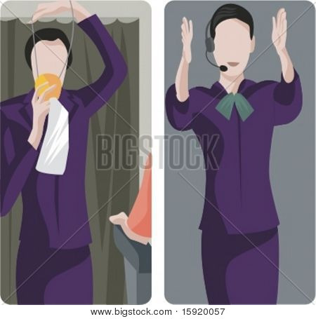 A set of 2 vector illustrations of air-hostess giving instructions.