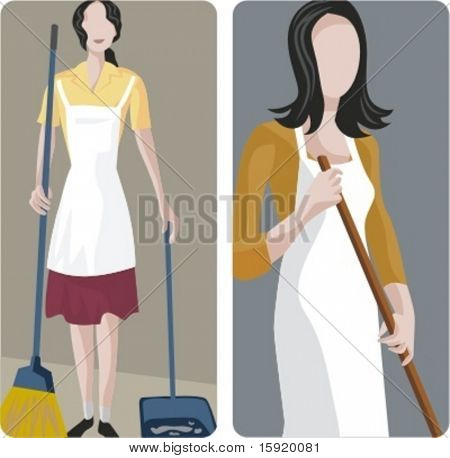 A set of 2 vector illustrations of cleaners.