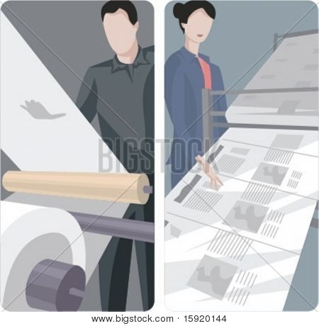 A set of 2 vector illustrations of news papers printing.