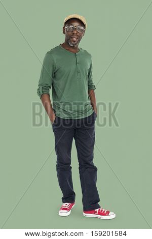 Old-Fashioned African Man Casual Cheerful Concept