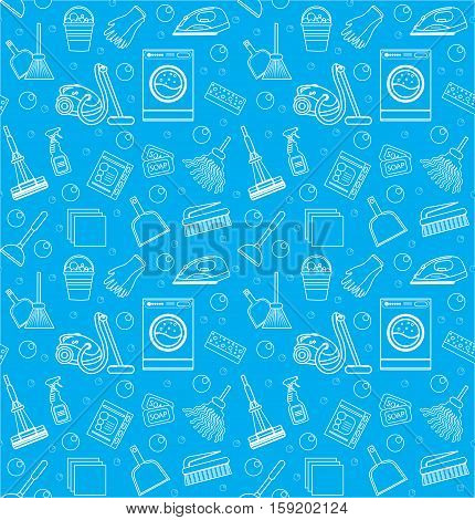 Cleaning seamless pattern. Cleaning endless background, texture, wallpaper Vector illustration