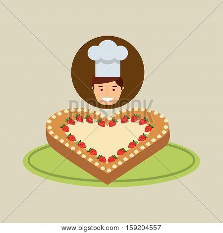 cartoon chef dessert cake ht vector illustration eps 10