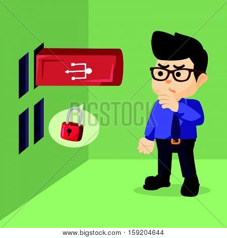 looking giant flashdisk in wall illustration design