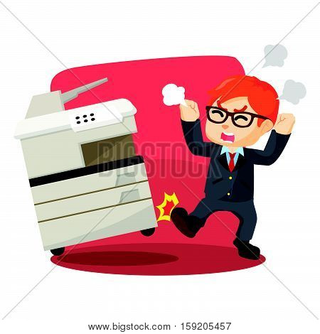 Angry businessman kicking photocopy machines illustration design