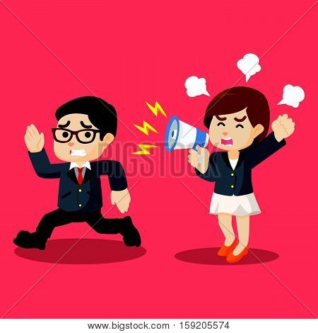 businesswoman yelling at running businessman illustration design
