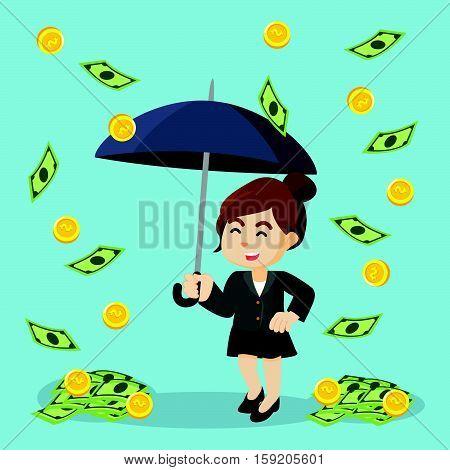 businesswoman happy because it was raining money