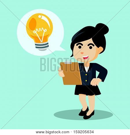 businesswoman happy with bulb callout illustration design