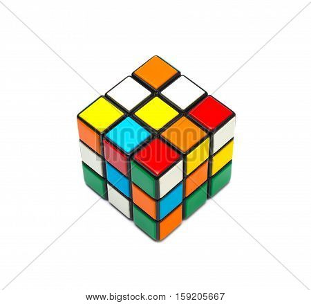 Estonia, Tallinn, Novemberr 30, 2016. Rubik's cube on the white background. Selective focus
