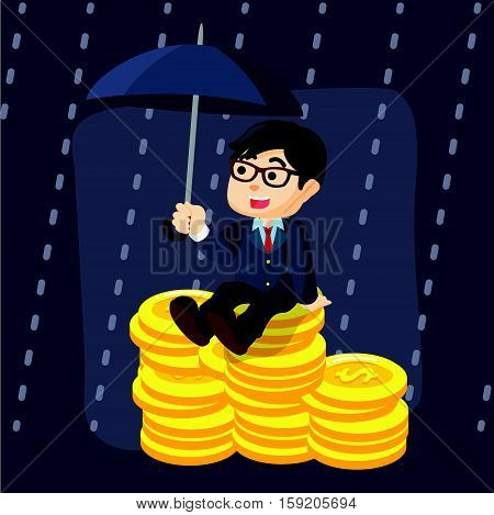 businessman protect money from rain illustration design