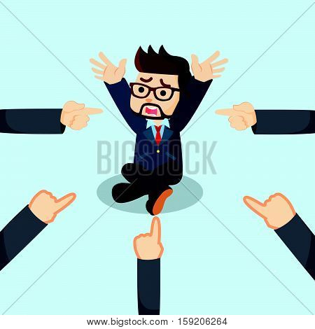 businessman panic all hands toward him illustration design