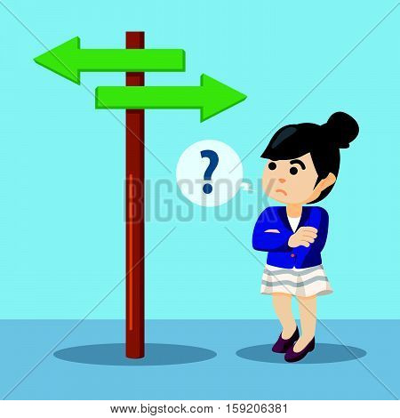 businesswoman confused where he should go illustration design