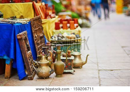 Teapots On Moroccan Market In Essaouira, Morocco