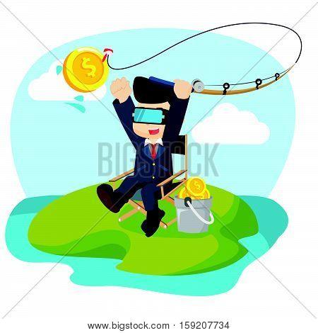 businessman fishing money with virtual reality illustration design