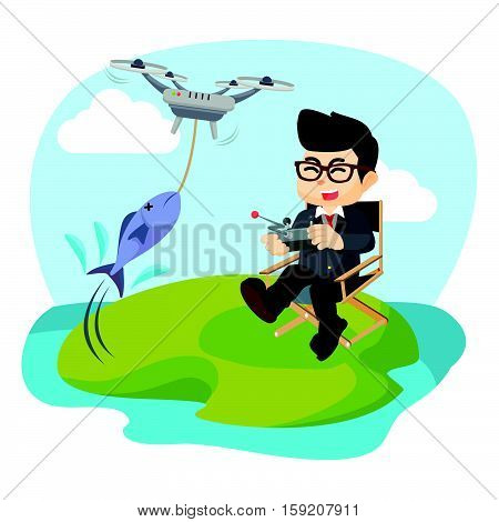 businessman fishing with drone eps10 vector illustration design