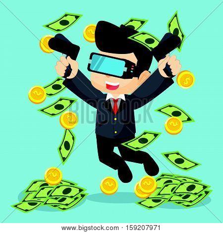 raining money with virtual reality illustration design