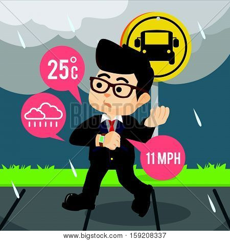businessman checking weather with his smart watch