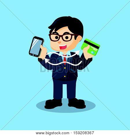 synchronization of smartphone and credit card illustration design
