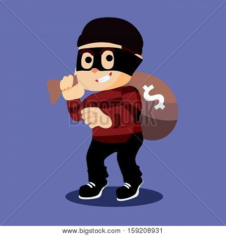 thief rob money eps10 vector illustration design