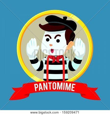 pantomime guy in circle ribbon illustration design