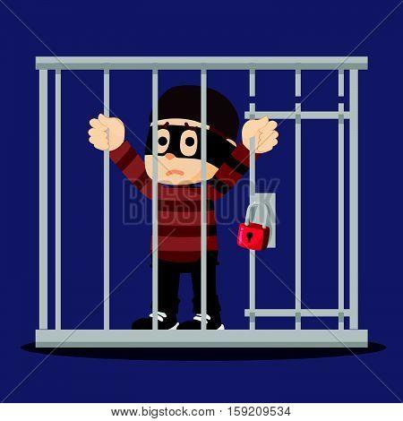 thief getting jailed eps10 vector illustration design