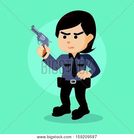 policewoman holding gun eps10 vector illustration design