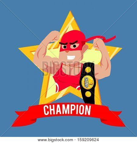 wrestler champion in emblem eps10 vector illustration design