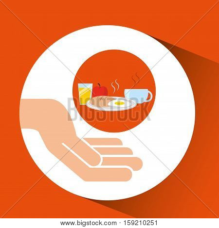 hands food preparing breakfast vector illustration eps 10