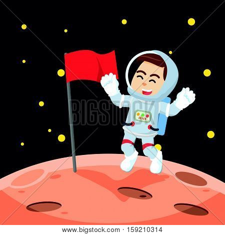 astronaut putting the flag in moon illustration design