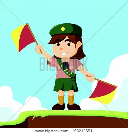 scout girl playing semaphore eps10 vector illustration design