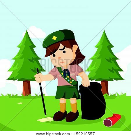 scout girl keeping forest clean illustration design