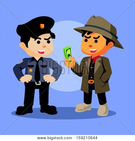 mafia bribing police eps10 vector illustration design