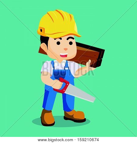 handyman holding wooden and hacksaw illustration design