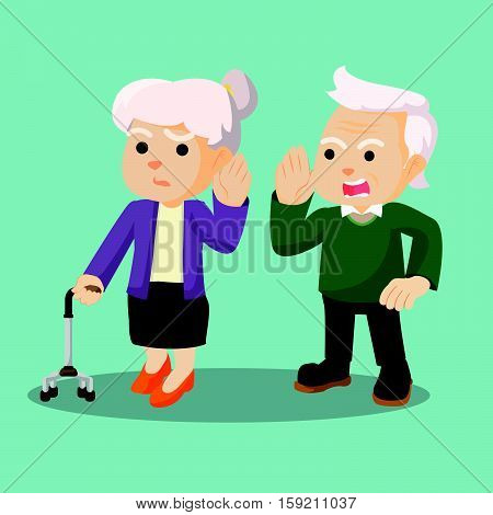 grandfather shouted loudly to grandma illustration design