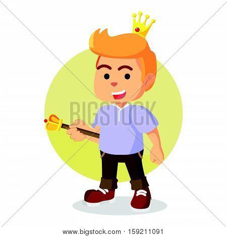 modern prince holding scepter eps10 vector illustration design